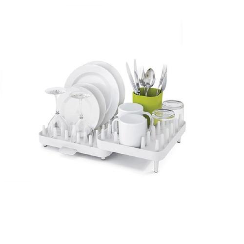 Joseph Joseph 英國創意餐廚 可調式碗盤瀝水架三件組(白綠)