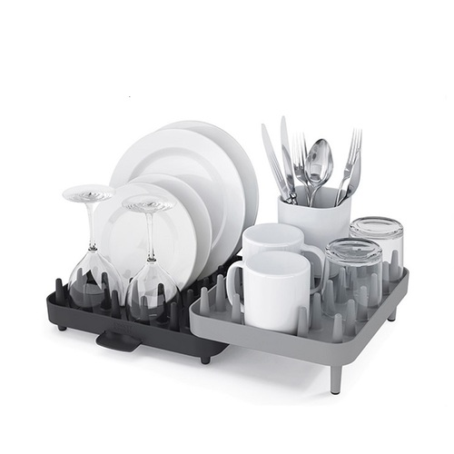 Joseph Joseph|英國創意餐廚 可調式碗盤瀝水架三件組(灰)