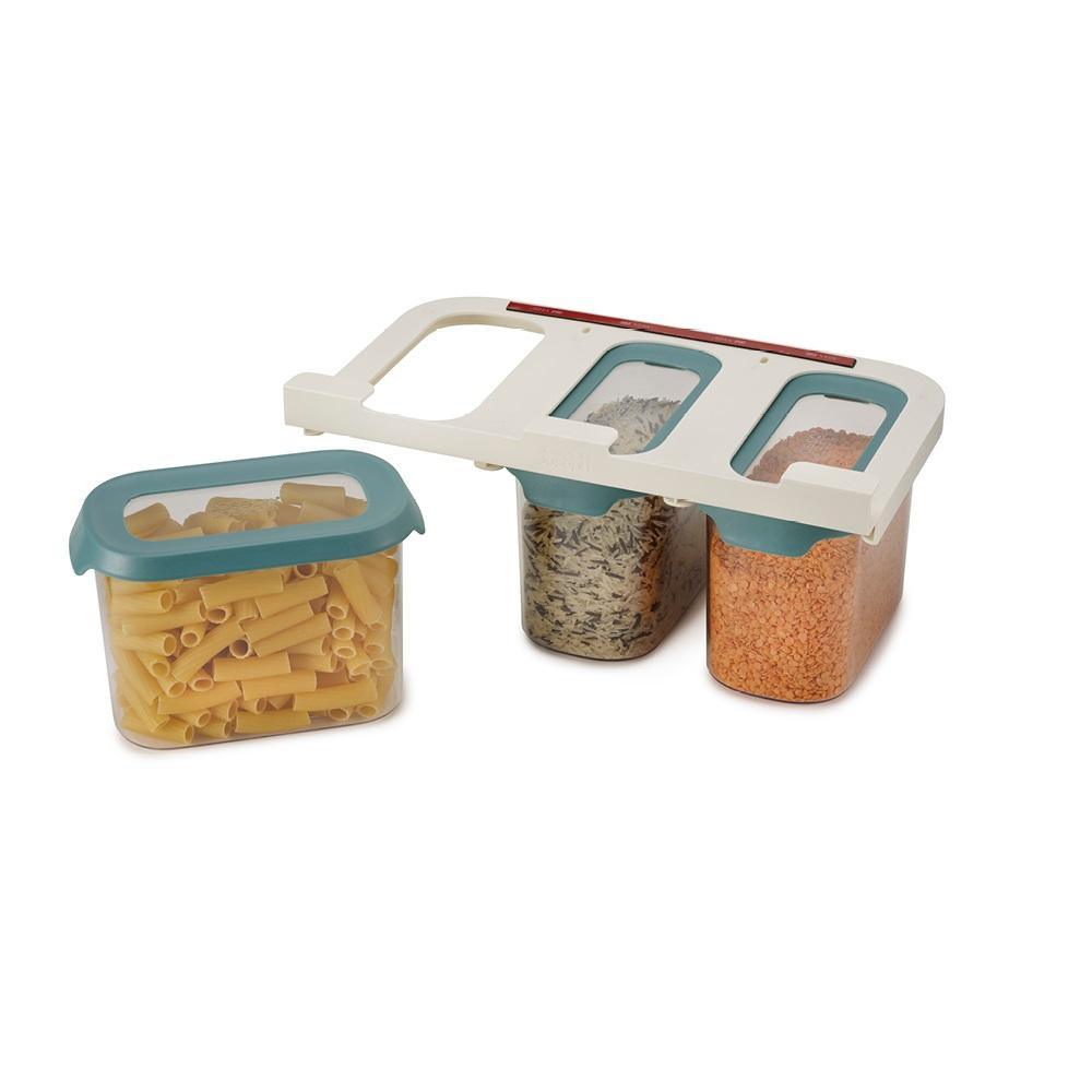 Joseph Joseph|英國創意餐廚 廚櫃層板懸掛儲存罐三件組(1300ml/個)
