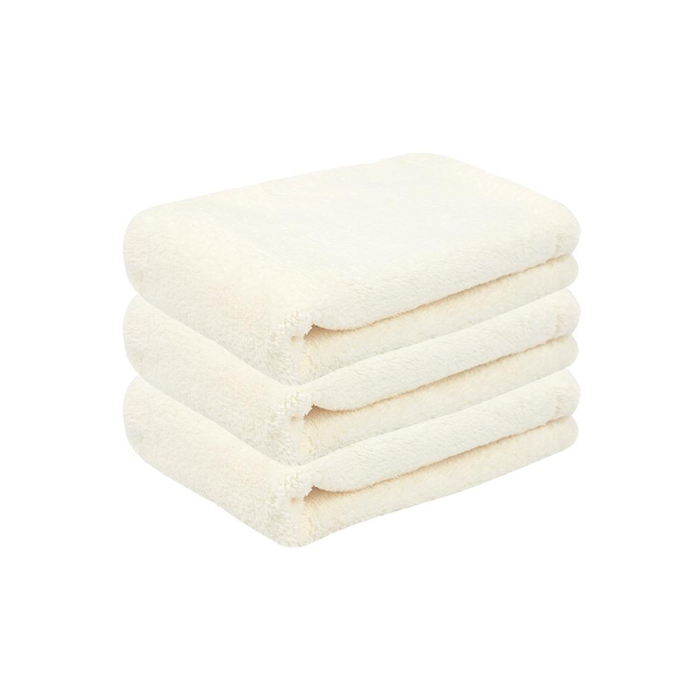 Microdry|舒適快乾方巾-象牙白3入組