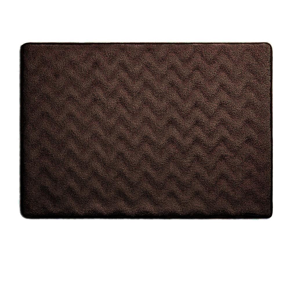 Microdry|3D波紋記憶綿浴墊-巧克力/S(43x61cm)