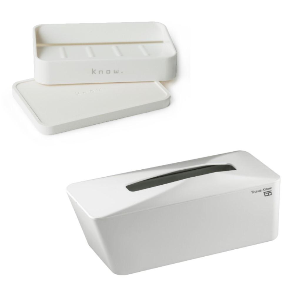 Unique Art|Soap.Know 速乾珪藻土皂盒組+自動彈升面紙盒