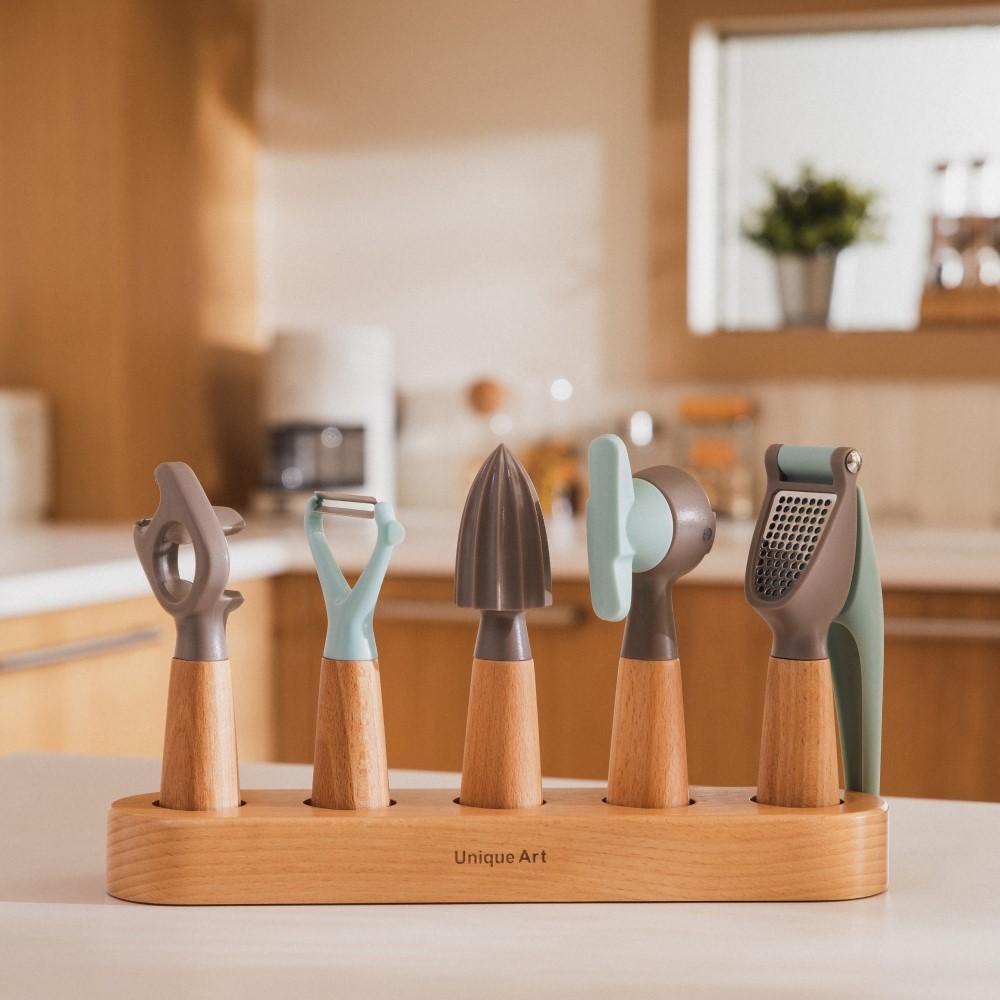 Unique Art|EASY KITCHEN 北歐風木柄餐廚工具6件組