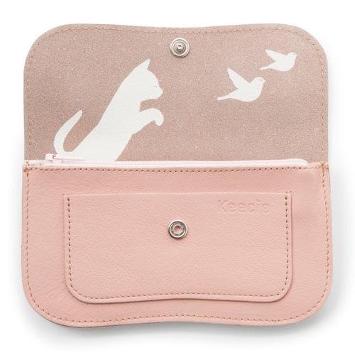 Keecie 貓咪與小鳥中夾-薔薇粉