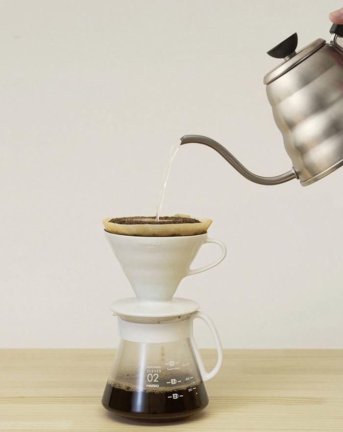 HARIO|V60白色濾杯咖啡壺組 2~5杯 XVDD-3012W