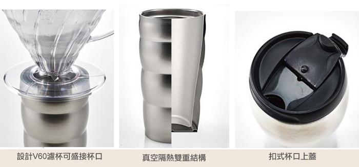 HARIO|真空不鏽鋼隨行杯 黑色 VUW-35B 350ml
