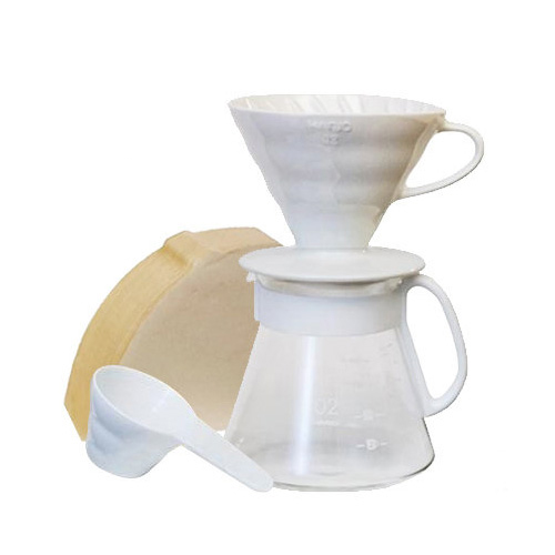 HARIO|V60白色濾杯咖啡壺組 2~5杯量 XVDD-3012W