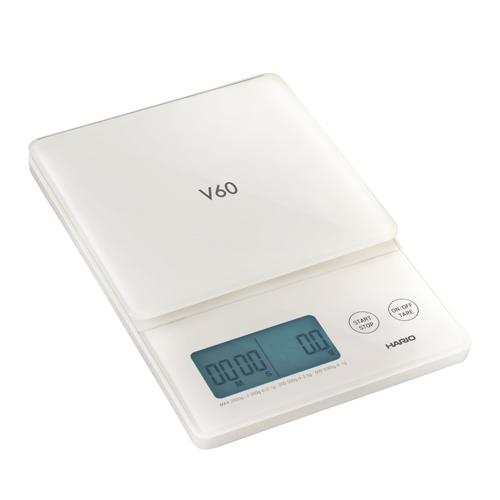 HARIO V60琉璃白電子秤 VSTG-2000-W-TW 贈 耐熱湯吞小茶杯2入一組