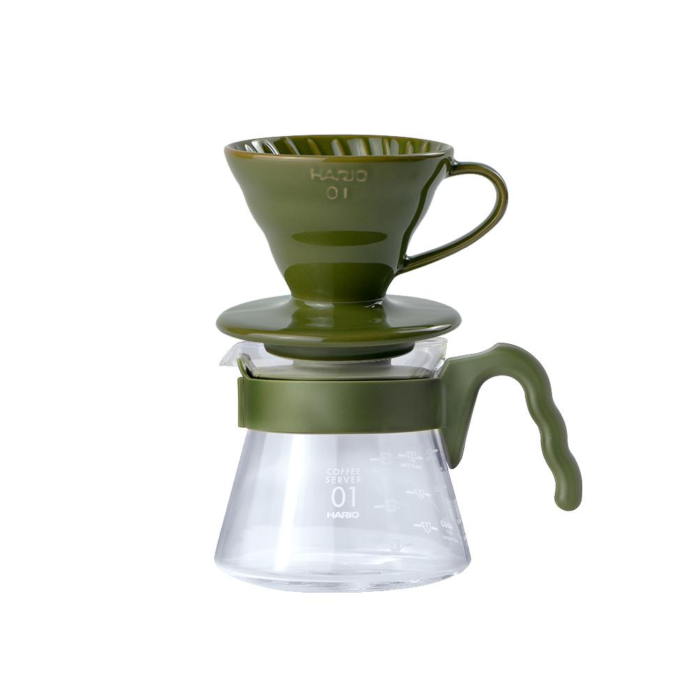 HARIO|V60藍媚茶01濾杯咖啡壺組