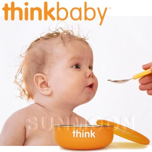 美國 Thinkbaby|不鏽鋼寶寶碗(淺碗) 橘色