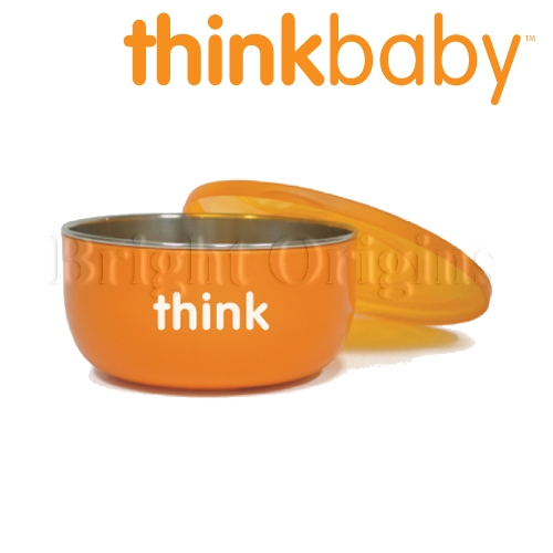 美國 Thinkbaby|不鏽鋼寶貝湯碗(深碗) 橘色