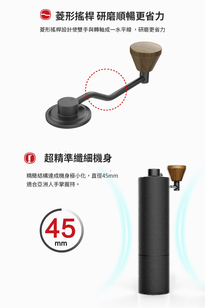 TIMEMORE 栗子SlimS 鑽石紋手搖磨豆機(義式鍍鈦磨芯)-黑色