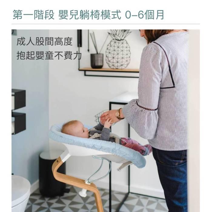 Nomi 丹麥嬰兒躺椅組合包-淺藍/米白