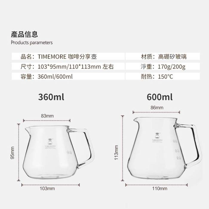 (複製)TIMEMORE|泰摩冰瞳手沖咖啡套裝組       (玻璃分享壺360ml+PC濾杯01號1~2人份)