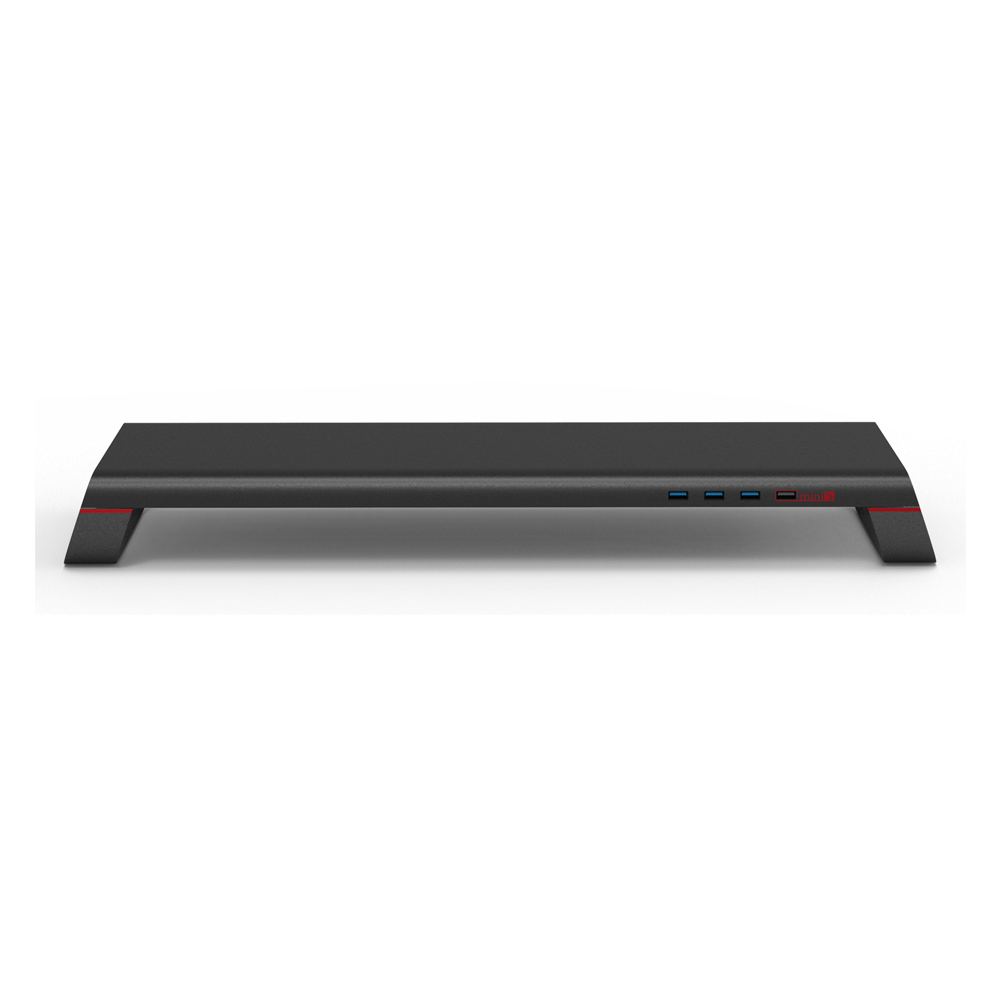 MONITORMATE|miniS 多功能螢幕架 - 霧面黑 3A電源 全金屬多功能桌上型電腦螢幕增高支架收納架