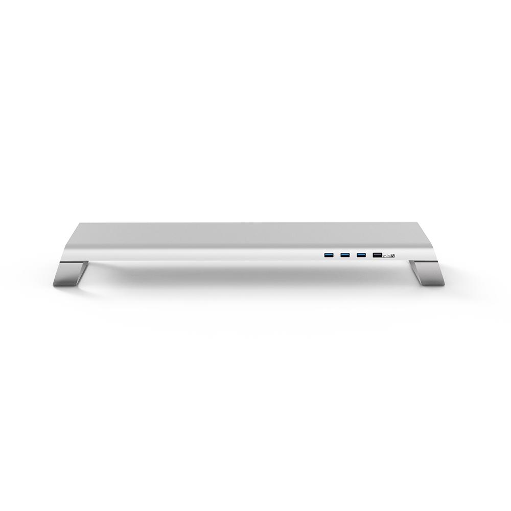 MONITORMATE|miniS 多功能螢幕架 - 北歐銀 3A電源 全金屬多功能桌上型電腦螢幕增高支架收納架