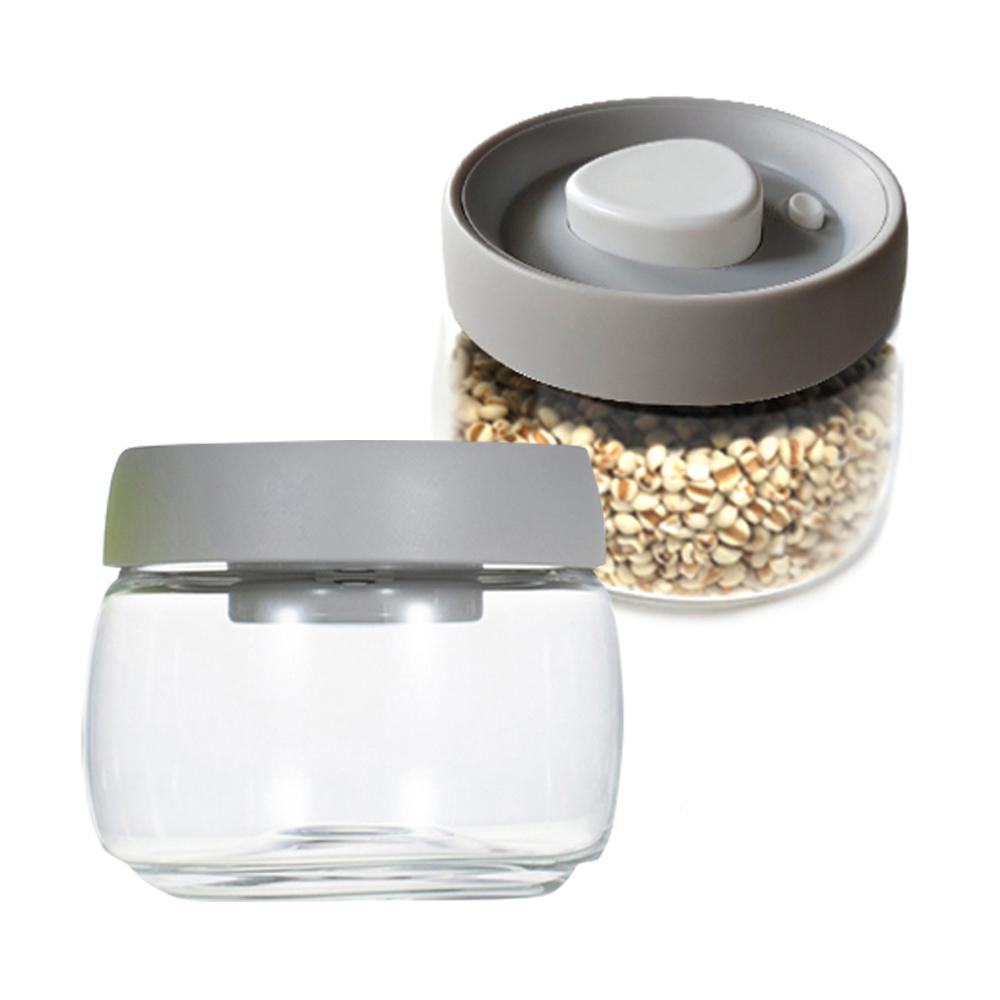 TIMEMORE|泰摩真空玻璃密封罐 400ml 灰蓋(2入)