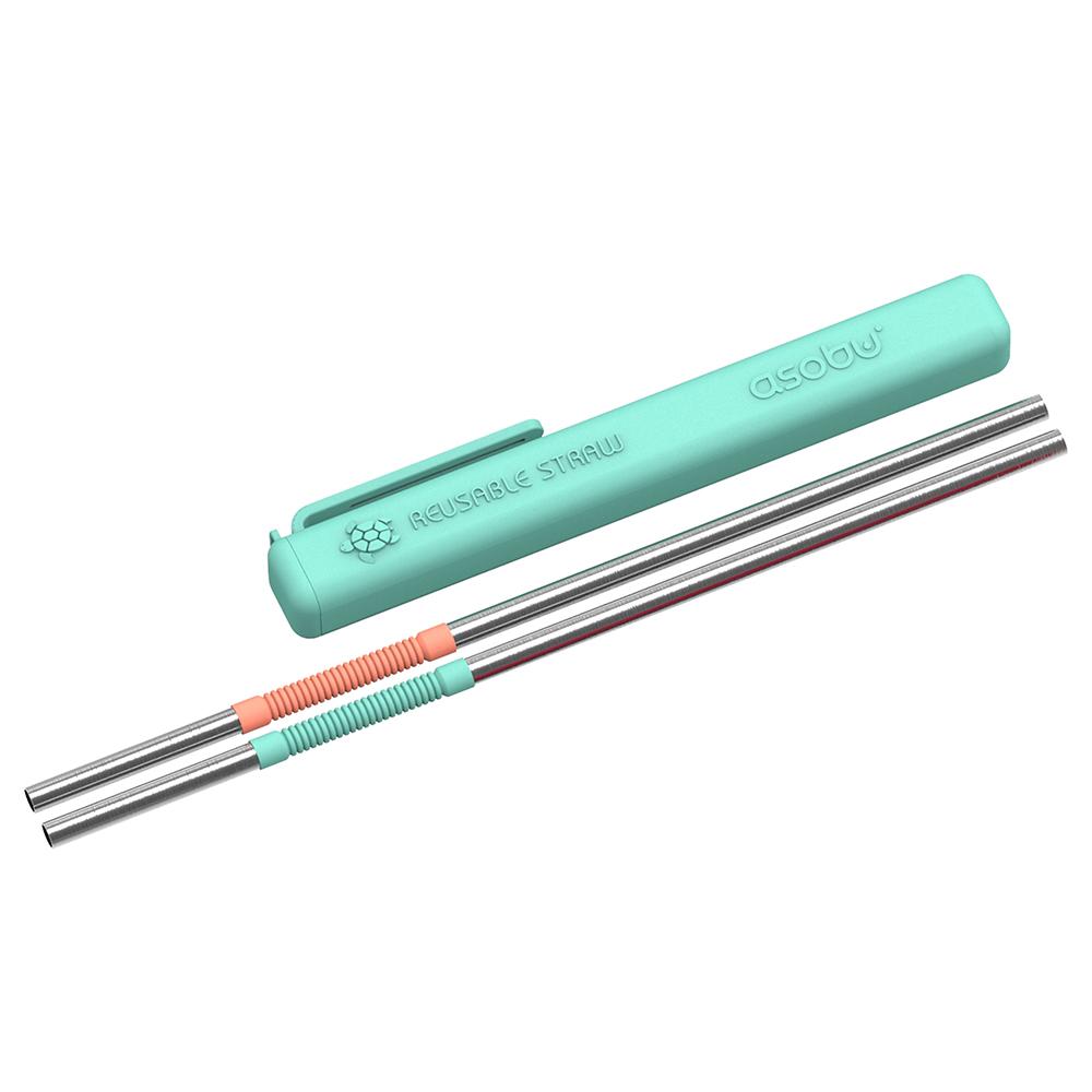 Asobu | 環保不鏽鋼可彎折雙色吸管 2入组