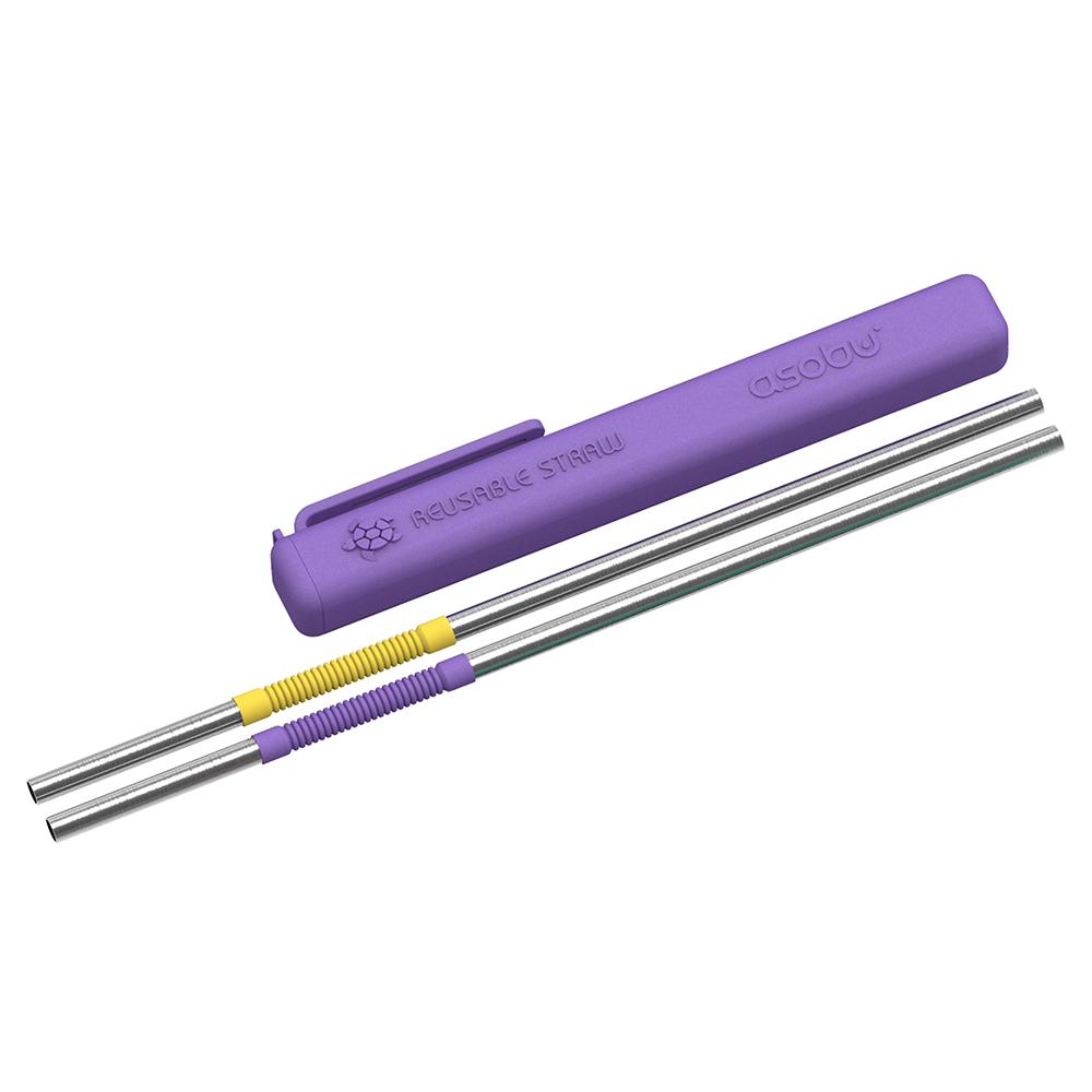Asobu   環保不鏽鋼可彎折雙色吸管 4入组