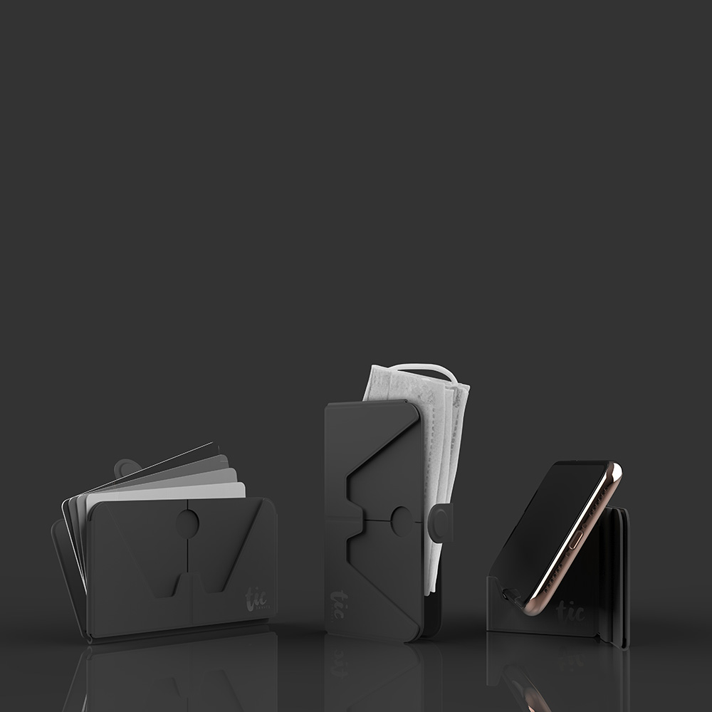 Tic Design TIC HOLDER 超薄3合1 手機支架卡片口罩收納夾-5入組