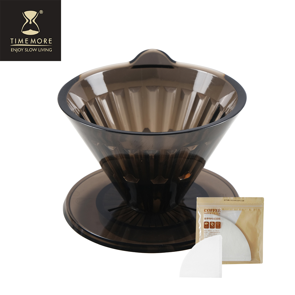 TIMEMORE 泰摩黑冰瞳手沖咖啡套裝組(限量版) (玻璃分享壺360ml+黑色限量濾杯01號1~2人份)