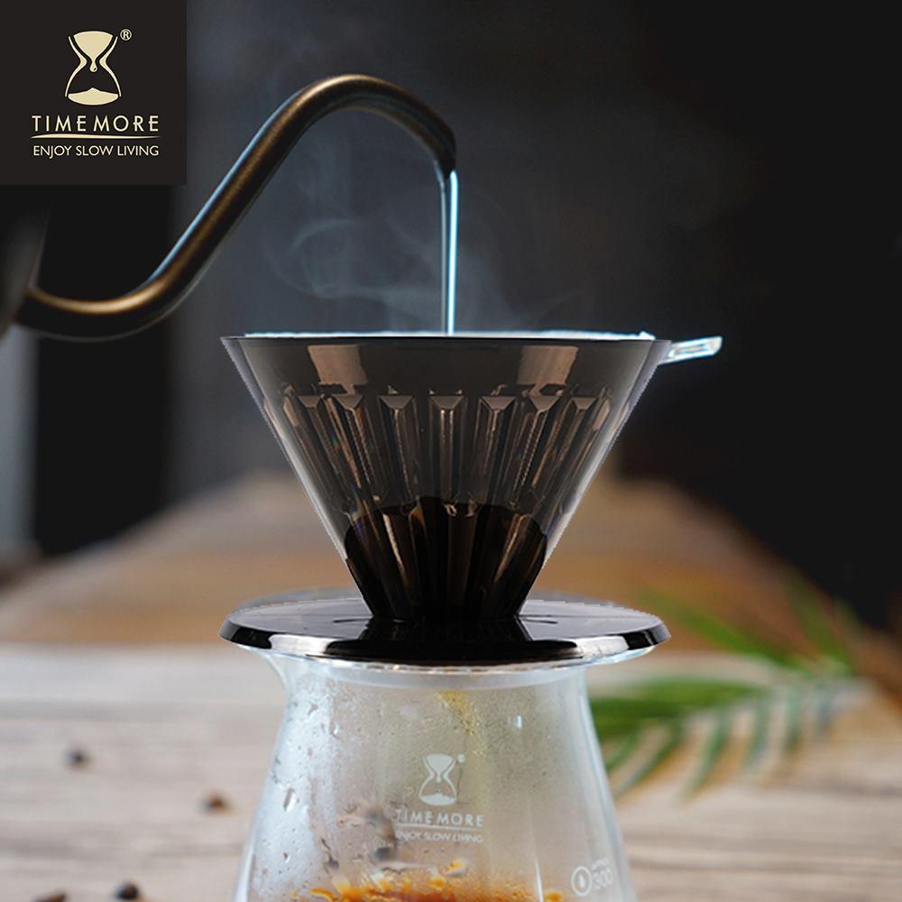 TIMEMORE 泰摩|黑冰瞳手沖咖啡套裝組(限量版) (玻璃分享壺360ml+黑色限量濾杯01號1~2人份)