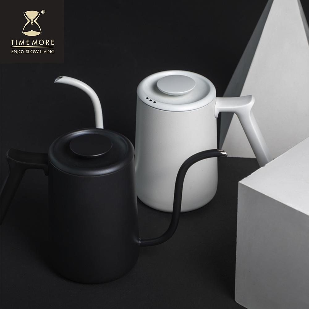 TIMEMORE|泰摩魚Pure不鏽鋼咖啡手沖壺細口壺700ml-霧面白/黑