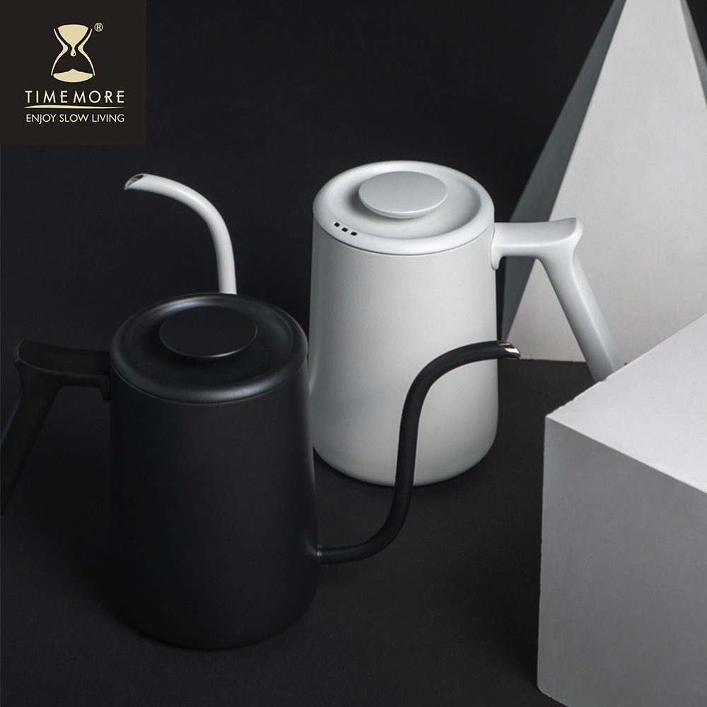 TIMEMORE 泰摩|魚Pure不鏽鋼咖啡手沖壺細口壺700ml-霧面白/黑