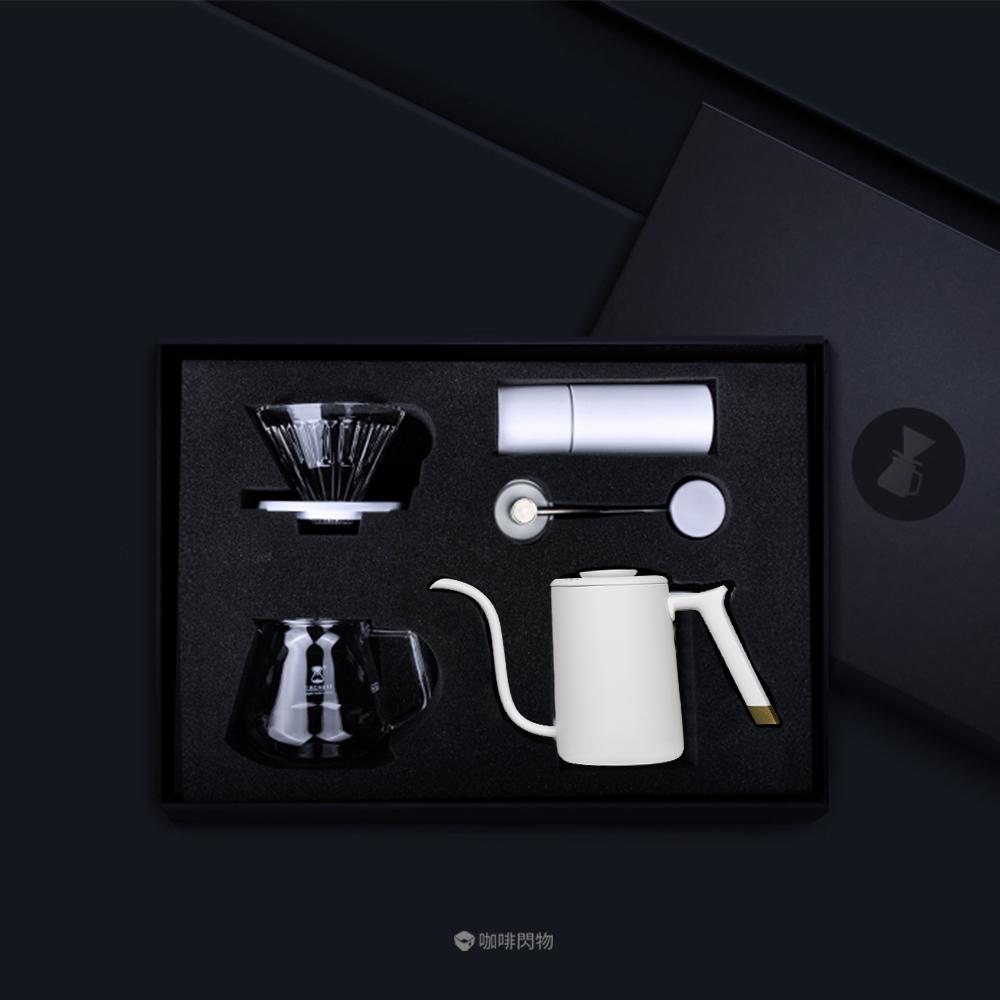 TIMEMORE|泰摩栗子C發燒級手沖咖啡豪華禮盒組(7件組)-黑/白