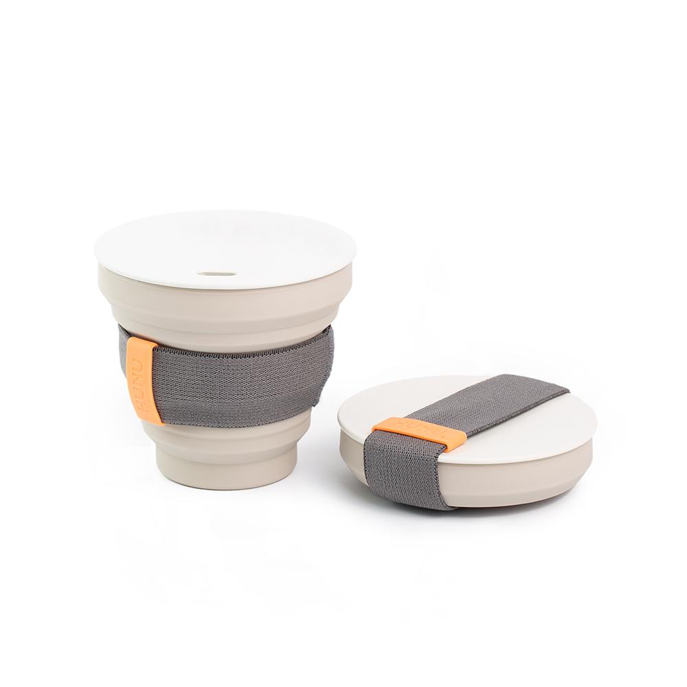 HUNU 環保摺疊口袋杯-淺灰
