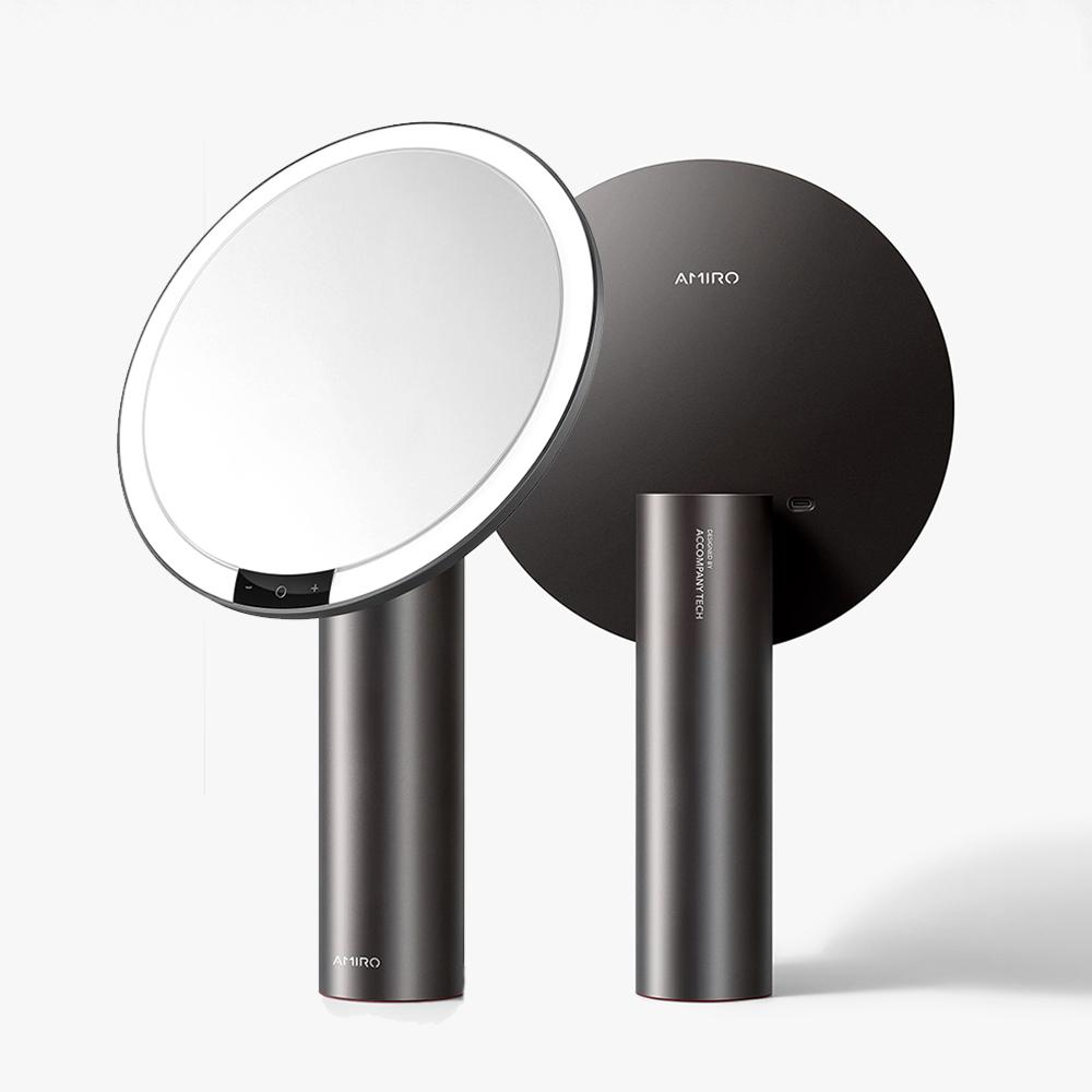 AMIRO O系列2代 LED智能高清日光化妝鏡(充電式/Vintage限定)-星空黑