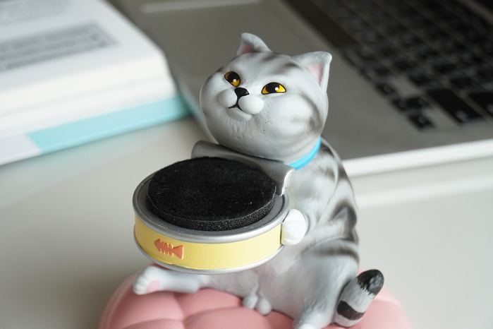 FIBER WATCH|貪吃小貓療癒錶座-(小灰斑)