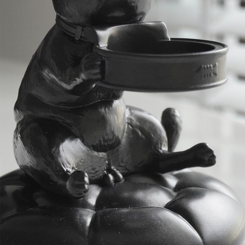 FIBER WATCH 貪吃小貓療癒錶座-(金屬黑)