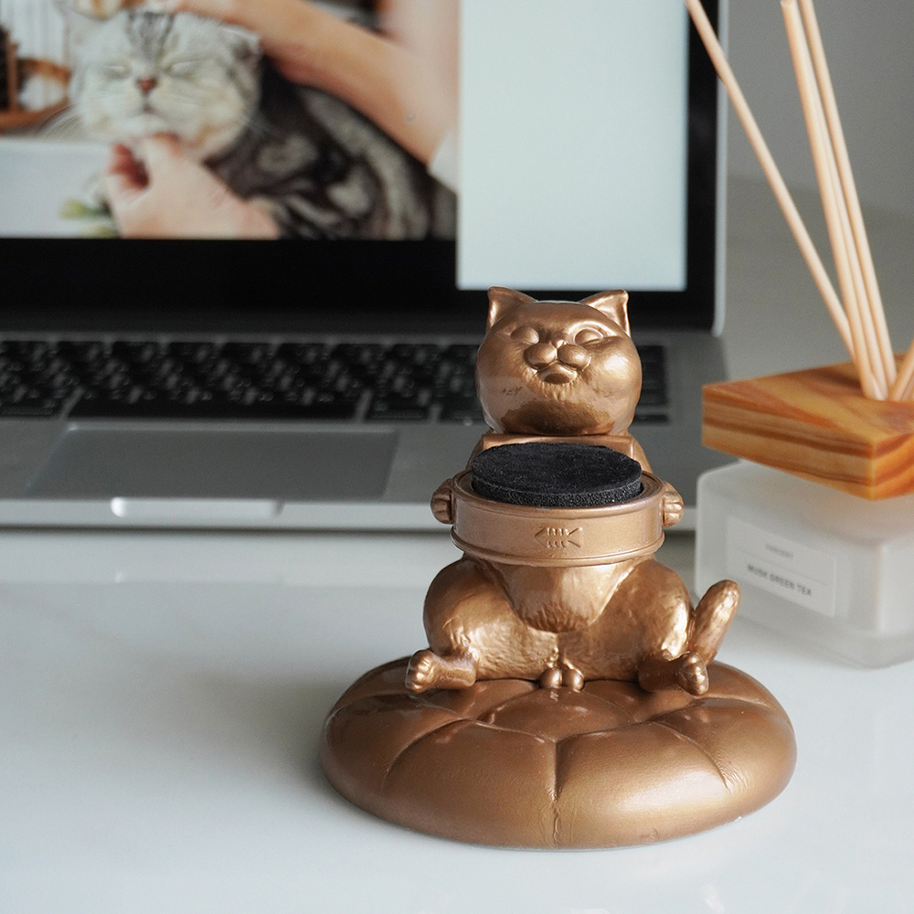 FIBER WATCH 貪吃小貓療癒錶座-(古銅金)
