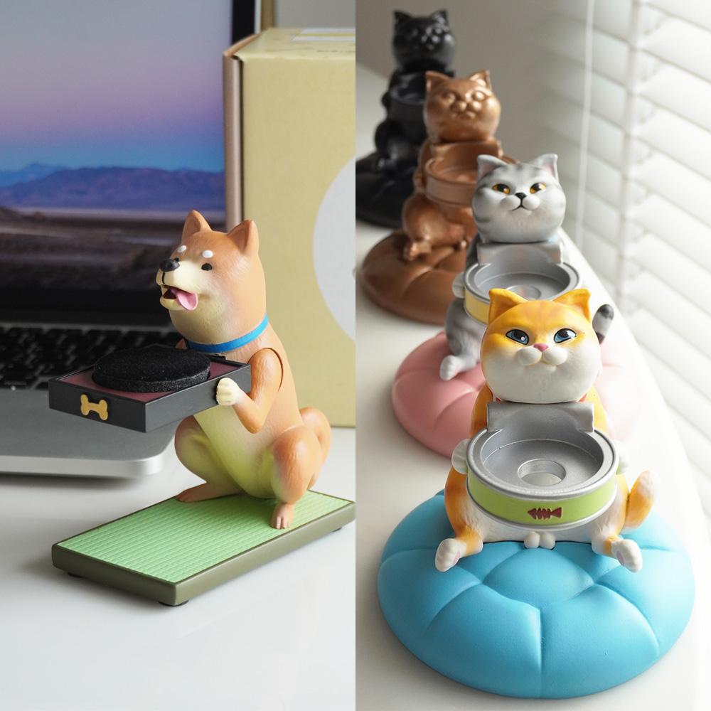 FIBER WATCH 貪吃小貓+忠犬小柴 療癒錶座(2入)