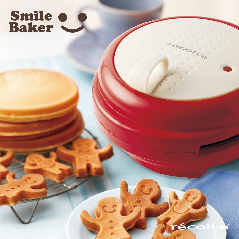 recolte日本麗克特|smile baker 微笑鬆餅機+三角烤盤(甜心紅)