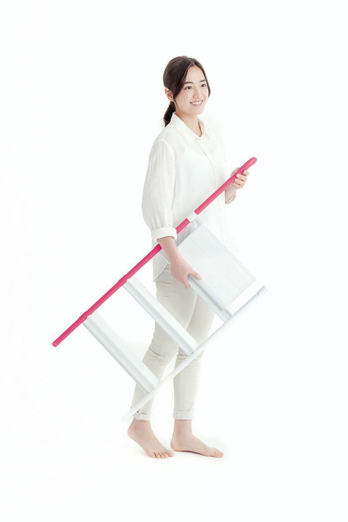 長谷川|單邊扶手設計梯 (粉紅色)-3階(58cm) SS-3PK