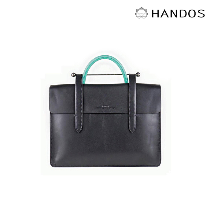 HANDOS|Musician 皮革音譜手提包 - 黑 x 藍綠