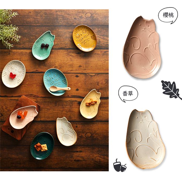(複製)石丸波佐見燒|淘氣貓咪小皿 (西芹.檸檬) - 2件組