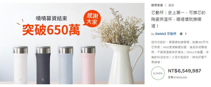 【集購】SWANZ|陶瓷保溫芯動杯 550ml (5色任選)