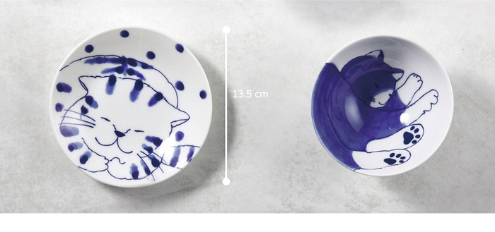 (複製)日本澤藍美濃燒|仲良貓友大圓盤-禮盒組(2件式)