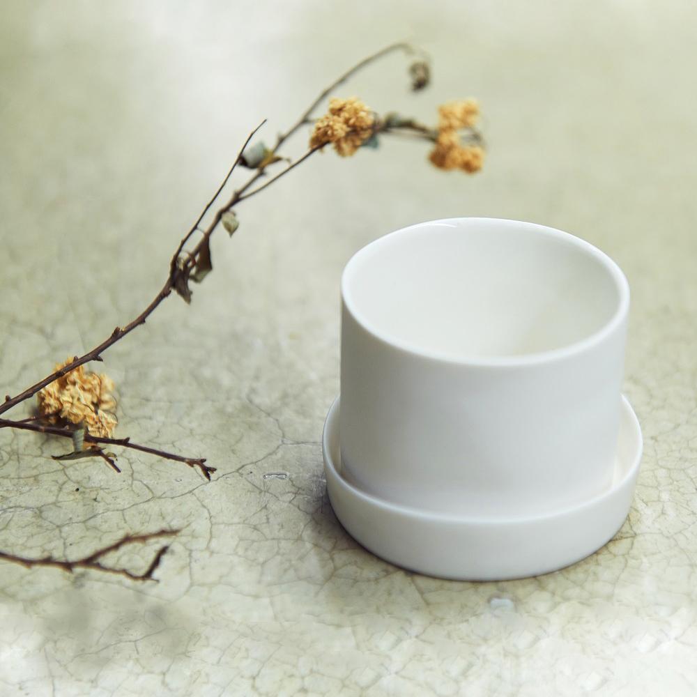 3,co│水波蓋杯(2件式) - 白