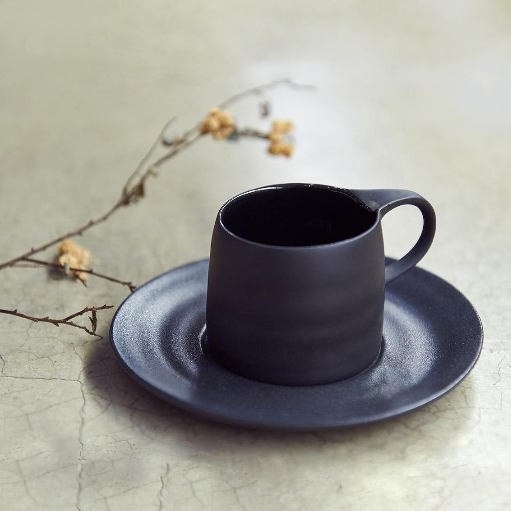 3,co│卡布奇諾杯碟組(2件式) - 黑