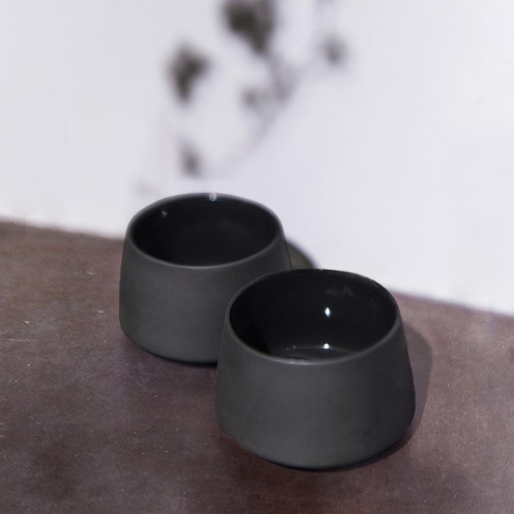 3,co│水波提樑小杯(2件組) - 黑
