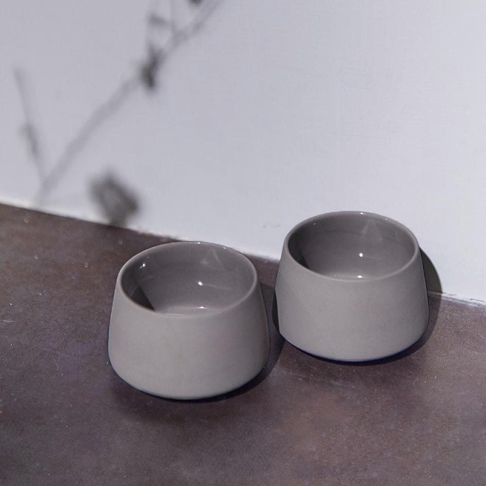 3,co│水波提樑小杯(2件組) - 灰