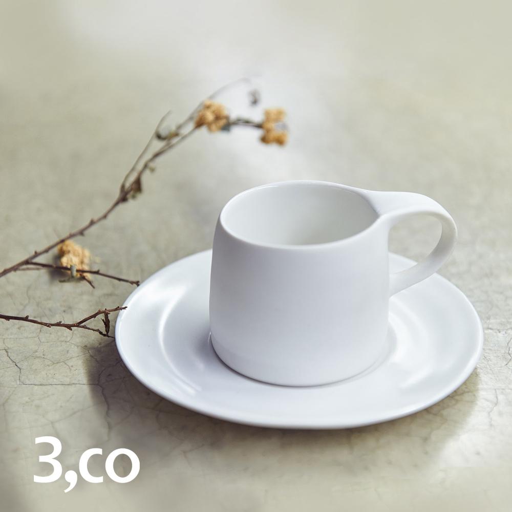 3,co│卡布奇諾杯碟組(2件式) - 白