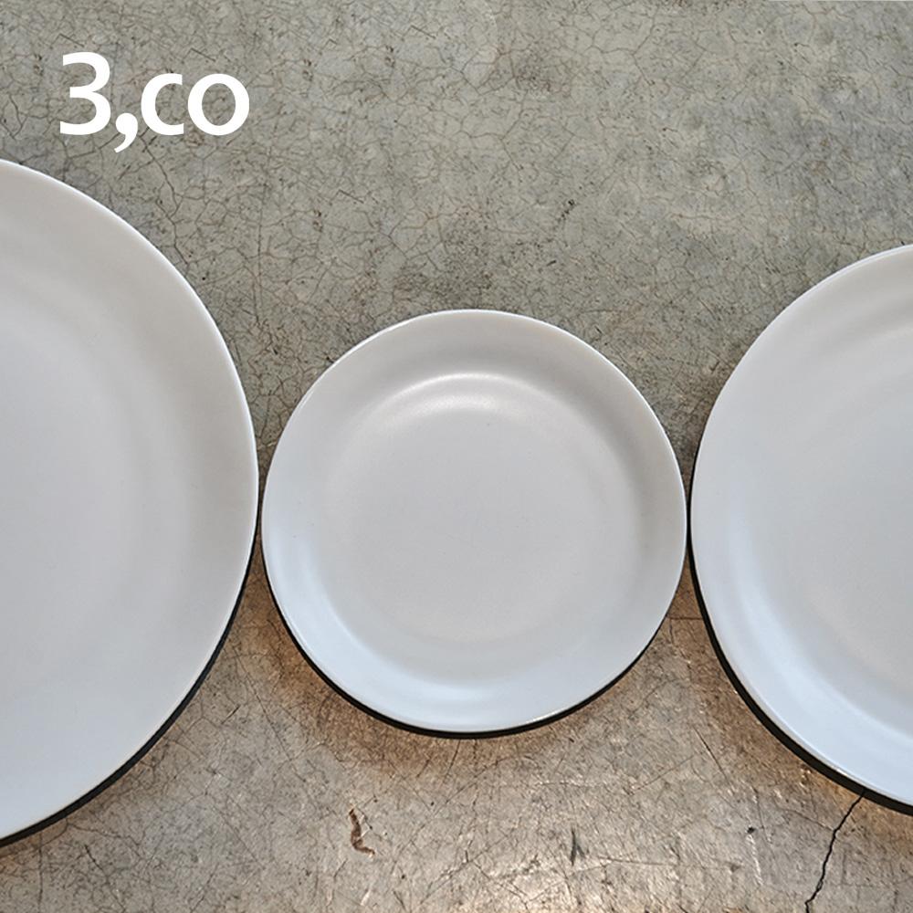 3,co│水波麵包盤(2件式) - 黑+白