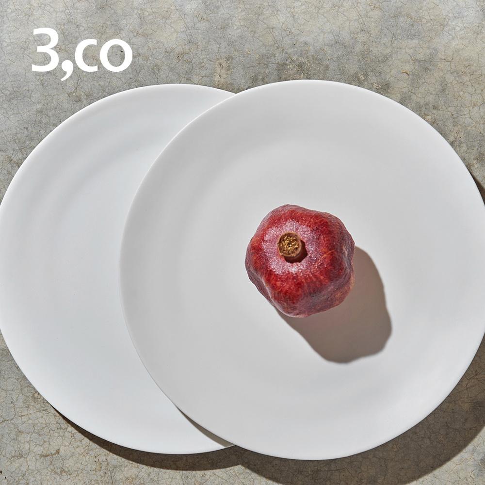 3,co│水波主菜盤(2件式) - 白+白