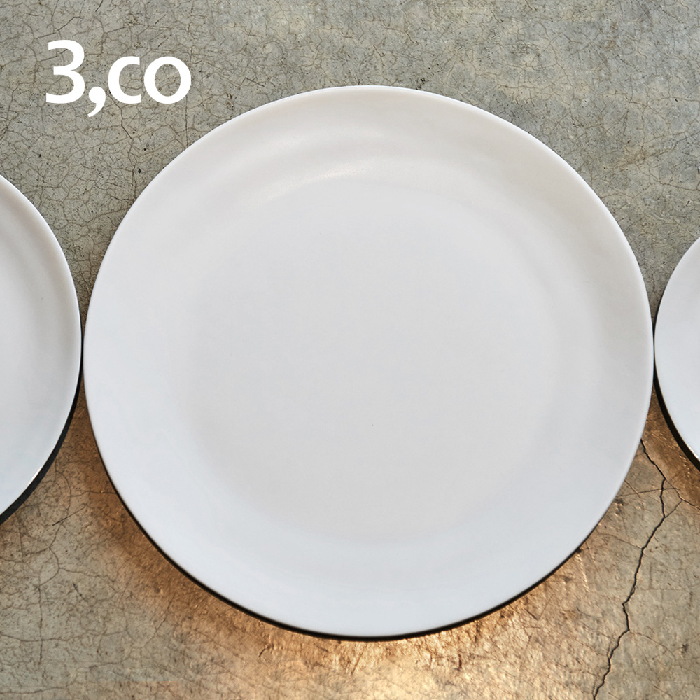3,co│水波主菜盤(2件式) - 灰+黑