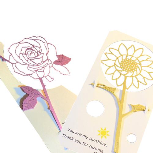 Desk+1|玫瑰書籤(淺紫)+向日葵(黃)雙件組